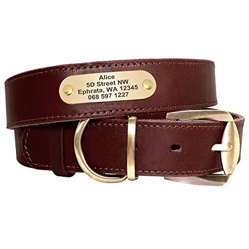 Didog Collares, collar de perro de cuero suave personalizado con etiqueta de identificación personalizada, marrón/verde/rojo, para perros medianos y grandes