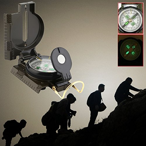 1 Pack Portable Folding Lens Compass Keychain American Military Survival Emergency Life Tactical Best Popular Outdoor Hiking Waterproof Protractor Whistle Knife Backpack Geometry Map Guide Tools Kits