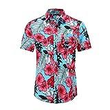 Shirt Playa Hombre Botones Verano Bolsillos Camisa Casual Hombre Manga Corta Estampado Personalidad Vintage Hombre Camisa Clásica Todos Los Días Hombre Shirt Hawaiana C-Multicolor L