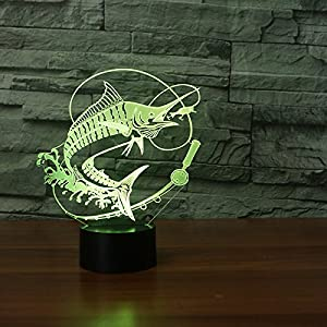 3D Go Fishing Night Light 7 Color Change LED Table Desk Lamp Acrylic Flat ABS Base USB Charger Home Decoration Toy Brithday Xmas Kid Children Gift