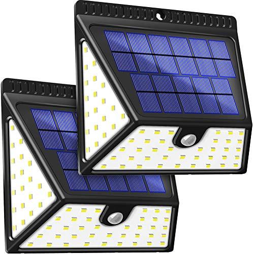 Solarleuchten Außen, BAXiA 1640LM Solarlampen für Außen mit Bewegungsmelder Solar Beleuchtung Wasserdichte Wandleuchte Solarlicht Aussen für Garten Wände Zaun Patio Gehweg Terrassen-82 LED, 2 Stück…