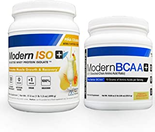 Modern BCAA+ EAA BCAA Powder Drink Mix (Pineapple Strawberry) 30 Serving and Modern ISO+ 100% Whey Protein Isolate WPI Shake Powder (Pina Colada) | Ultimate Workout Bundle