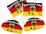 Alsino Deutschland Fanset für`s Auto - WM Fanartikel Paket - 2X Außenspiegel Überzug, 2X Autoflagge - Auto-Fahnen DE-02