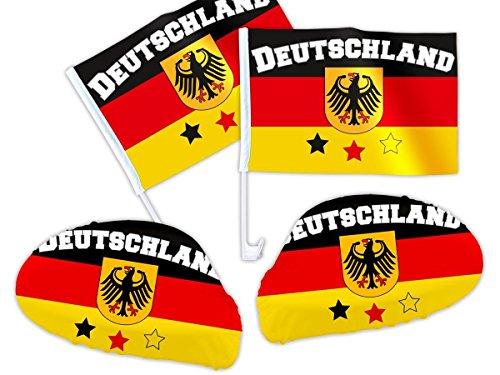 4 pièces ALSINO Allemagne Article de Fan de 02 WM voiture fanset 2014 Fan Paquet de voiture drapeau Miroir Housse Voiture Drapeau