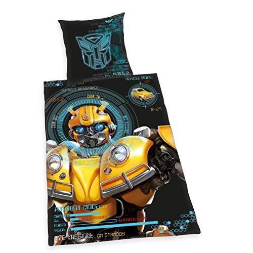 Herding Bettwäsche Transformers Bumblebee, Kopfkissenbezug 80x80cm, Bettbezug 135x200cm, Renforcé, mit Qualitätsreißverschluss