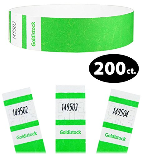 Goldistock Select Series – 3/10,2 cm Tyvek Wristbands 200 count #05- Neon Green 200 Ct.