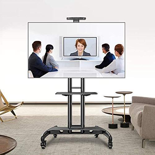 Soporte tv suelo Base de soporte de piso de TV con estantes para la mayoría de los televisores de pantalla plana o curvas LCD de 32-65 pulgadas, TV de pantalla plana o curvada, giratoria de TV univers