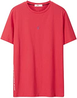 Men's Casual T-Shirt Short Sleeve, Fashion Men's Short Sleeve Top Sports Home Party Short Sleeve (Color : Red, Size : S)