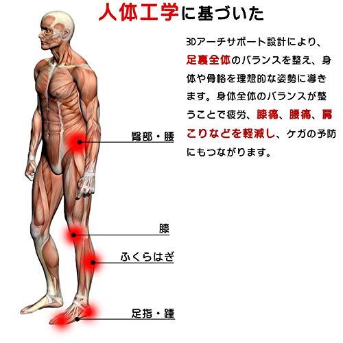 [Kozzim]インソール衝撃吸収中敷き強力消臭/低反発/疲労減少/人間工学に基づいた衝撃吸収男性用女性用(black,M(25-27cm))