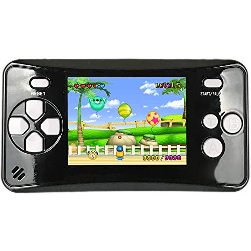 HigoKids Handheld Game Console for Kids Portable Retro Video Game Player Built-in 182 Classic Games 2.5 inches LCD Screen Family Recreation Arcade Gaming System Birthday Present for Children-Black