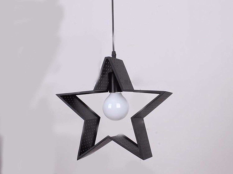 LighSCH Kronleuchter Pendellampe Restaurant licht Persnlichkeit Geometrie Bügeleisen Art Bar Lights 5-Stern Schwarz 30  33cm