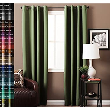 (2 Panels) Solid Blackout Drapes, Sage, Themal Insulated, Grommet/Eyelet Top, Nursery & Infant Care Curtains Each Panel 52 Wx84 L inch