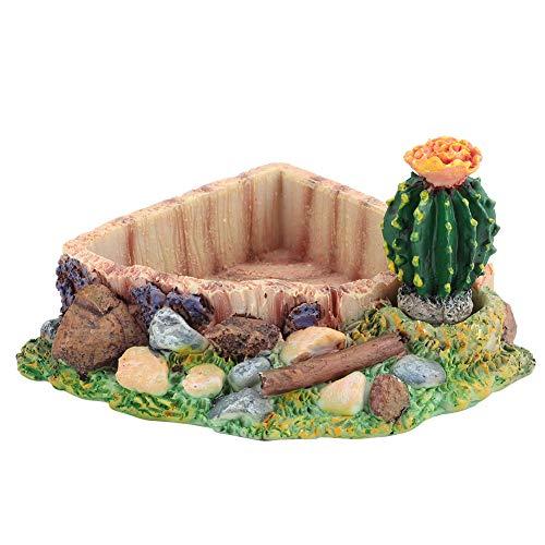 Esquina de reptil Plato de agua Cuenco de tortuga de resina Plato de comida para reptiles Comedero de gusanos Plato de terrario Plato de cactus artificial Adorno de paisaje de piscina para lagarto Gec