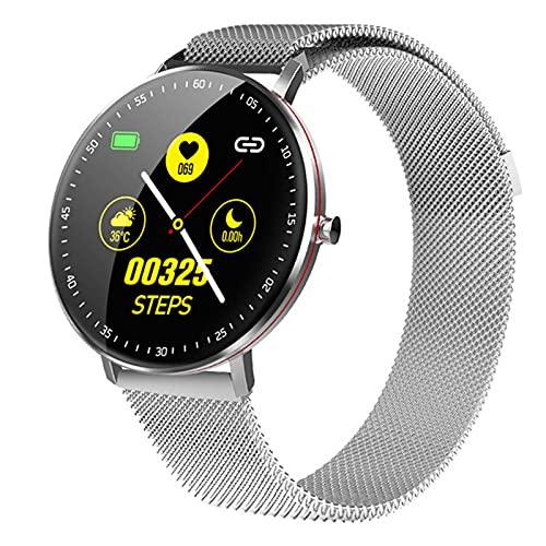 F19 Smart Watch Activity Tracker Ritmo Cardíaco Presión Arterial Control De Música Previsión del Tiempo Pantalla Completa Pulsera PK KY108 Z6 para Android iOS,Plata