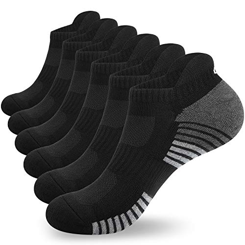 Anqier 6 Pairs Men Women Running Socks (Size 3-15) Cushioned Ankle Athletic Trainer Socks Cotton Socks Low Cut Sports Socks Breathable by Anqier (Black*6, L- (UK 9-12/ EU 43-46))