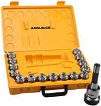 Accusize Industrial Tools 15 Pc Er40 Collet Set Plus 1 pc R8 Bridgeport Shank Holder and a Wrench in Fitted Box, 0223-0984