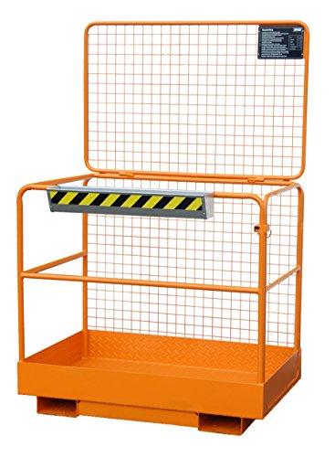 Sicherheitskorb aus stabiler Rohrkonstruktion, Aufnahme mit Gabelstapler an der breiten Seite, zul. für 2 Personen, lackiert