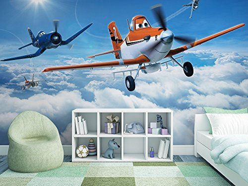 Sunny Decor SD465 fotobehang Planes Above The Clouds, kleurrijk, 368 x 254 cm, 8 delen, Wings around the Globe, behang, Disney