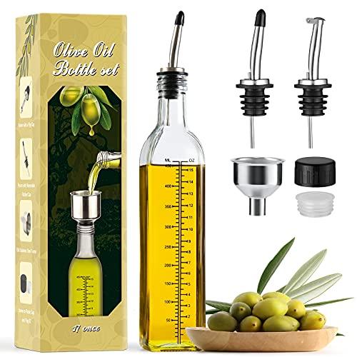 Aozita 17oz Glass Olive Oil Dispenser Bottle - 500ml Clear -Oil & Vinegar Cruet with Pourers and Funnel - Olive Oil Carafe Decanter for Kitchen