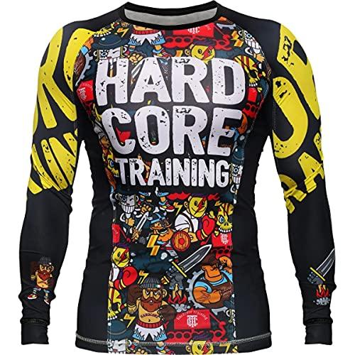 Hardcore Training Doodles Rash Guard Men's Camisa de Compresión Hombre MMA BJJ Boxeo Fitness Grappling No Gi (4XL)