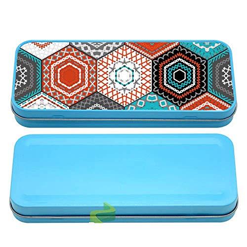 Générique Boite à Crayon mosaique hexagonale - Bleu