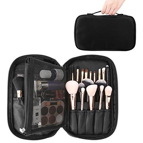Luxspire Makeup Pinsel Tasche, Tragbar Kosmetiktasche leer ohne Inhalt Wasserdicht Schminktasche Beauty Reisen Aufbewahrung mit Handschlaufe, Schwarz