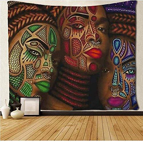 WH-CLA Large Indoor Tapestry,Tapiz De Pared De Tres Mujeres Africanas, Tapices De Pared Divertidos Y Bonitos para La Decoración del Hogar De La Oficina,150x150cm