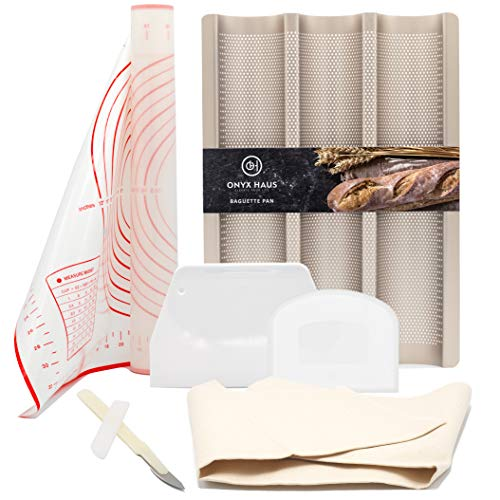Baguette Pans for Baking Silicone Baking Mats - Dough Cutter and Scraper + Bread Lame Cutter & Bakers Couche Proofing Cloth-Nonstick French Bread & Baguette Pans Gift Set