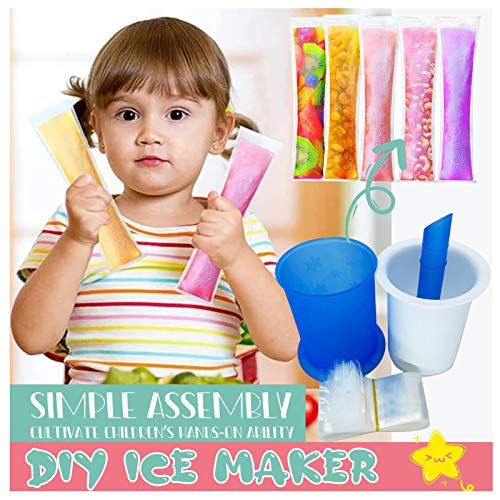 Blekii Freeze Pops Maker, ice pops Maker with Popsicle Bags for Healthy Snacks, Yogurt Sticks, Juice & Fruit Smoothies, Ice Candy Pops (A)
