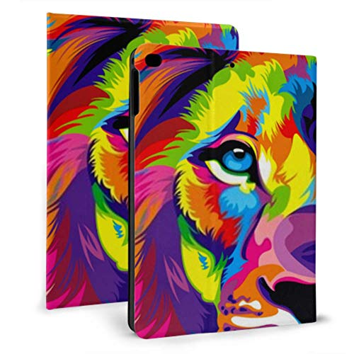 Ultra Thin Smart Leather Ipad Protective Case, Amazing Lion Artwork Colorful Painted Art for Ipad 2017/2018 9.7 Inch/Ipad Mini 7.9 Inch with Automatic Sleep/Wake Function