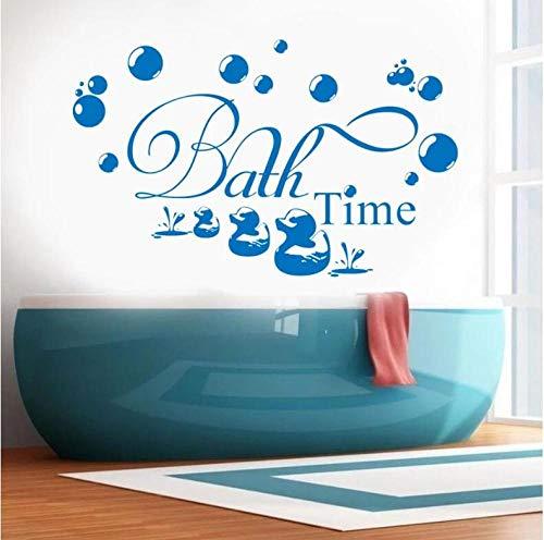 Pegatinas Etiqueta De Pared Animales Azules Dibujos Animados Patos Tiempo De Baño Burbuja Niños Baño Arte De Vidrio Vinilo Extraíble Decoración Del Hogar 68×42cm