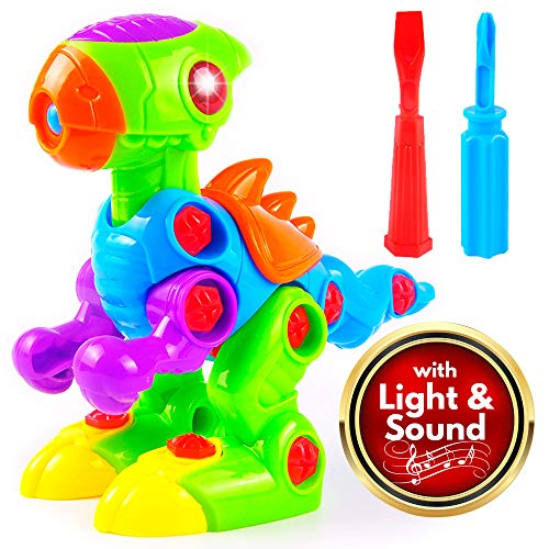 Take Apart Toy Dinosaur with Realistic Sounds and Lights, STEM Toys for...