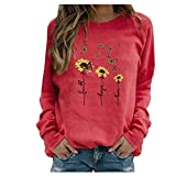 BOIYI Women's Crewneck Long Sleeve Top T-Shirt Sunflowers Printed Casual Loose Pullover Blouse Solid Colour Jumper Sweatshirt(Red,XXXXXL)