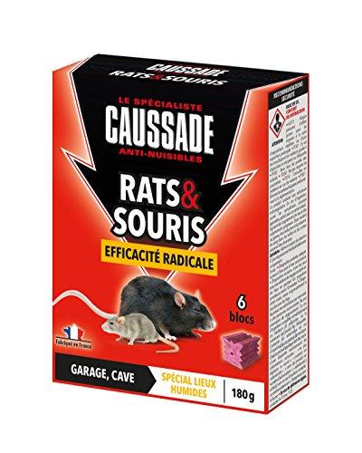 Caussade CARSBL180 Anti-nuisibles Rats & Souris Efficacité Radicale - 6 Blocs pour Garage et Cave   Lieux Humides