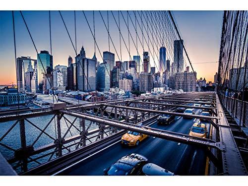 Oedim Stickers muraux Photo Image | La Circulation sur Le Pont de Brooklyn à New York | De 500 x 300 cm | Sticker Vinyle Adhésif Autocollant Fond Mural |
