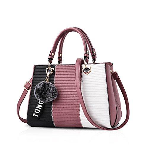 NICOLE & DORIS Damen Handtasche Umhängetasche Henkeltasche Kuriertasche Elegant Damen Handtaschen mit Kaninchen Pelz Kugel Plüsch Schlüsselring Pink 4