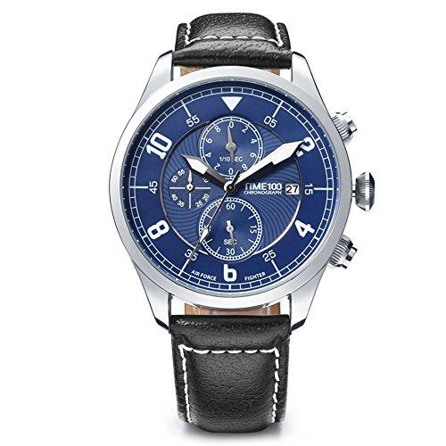 Time100 Orologio da Polso Uomo Multifunzionale, Movimento al Quarzo, Cinturino in Pelle di Vitello Cucito a Mano Nero, Quadrante Rotondo di Color Blu, Resistente all'Acqua#W80092G.01A