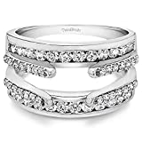 TwoBirch 1.01 Ct. Combination Cathedral and Classic Ring Guard in Sterling Silver with Cubic Zirconia (Size 7)