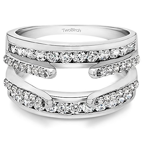 TwoBirch 1.01 Ct. Combination Cathedral and Classic Ring Guard in Sterling Silver with Cubic Zirconia (Size 6)