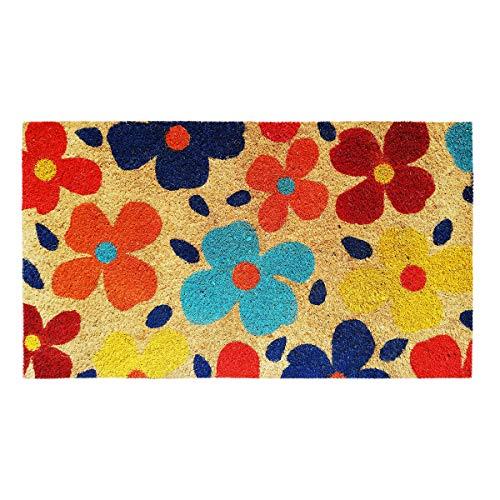 Banzaii Paillasson – Tapis d'entrée en Fibre de Coco 40x70 cm et Base en PVC Antidérapant Imprimé et Coloré – Fleurs