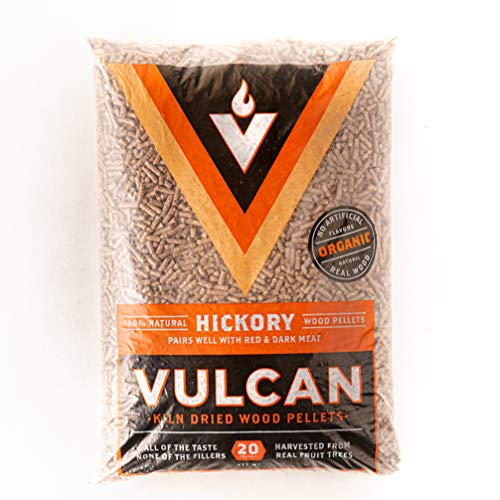 Vulcan Hickory Grilling Wood Pellets | All Natural 100% Quality Kiln Dried FoodGrade Real Hardwood | Bold Smokey Rich Flavor for Outdoor Grill BBQ Smoker Smoking Meat | Organic No Artificial Flavors