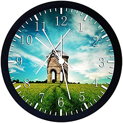 Windmill Black Frame Wall Clock E129 Nice For Gift or Office Home Wall Decor 10