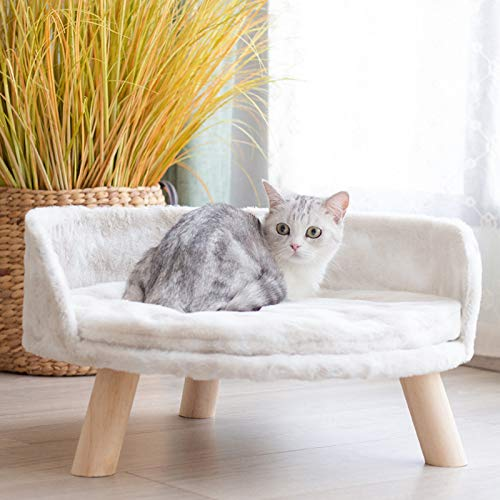 GYAM Pet Unique Cat Chair Bed Sofa for Indoor Cats Cozy Cat Chair Sofa with Solid Wood Made Legs Durable And Sturdy(White)