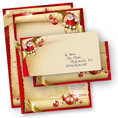Weihnachtsbriefpapier Set SANTA CLAUS beidseitig (250 Sets ohne Fenster) mit Gedichten, Infos und Weihnachtsliedern auf der Rückseite