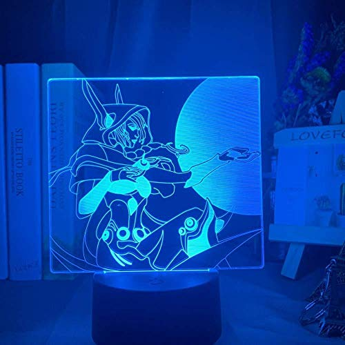 YOUPING 3D Illusionslampe Led Nachtlicht League Of Legends Xayah Figur Buntes Geschenk für Gamer Kinder Bedoom Dekor Tischlampe Lol The Rebel