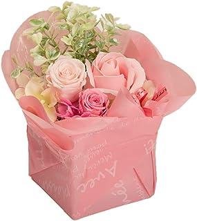 Azurosa(アズローザ) プリザーブドフラワー 誕生日ギフト スクエア アレンジ 花束ラッピング 枯れない花 フレグランス ローズ (スイートピンク)