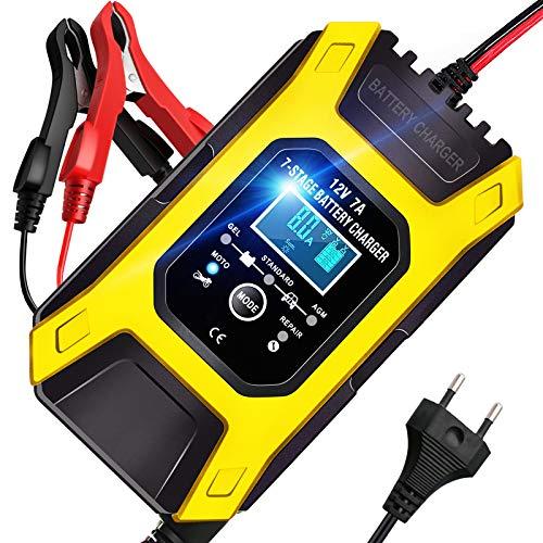 AOKBON Cargador Baterias Coche 7A 12V Cargadores Baterias Carga Rapida Múltiples Protecciones Automático Inteligente para Coche Moto ATVs RVs Barco