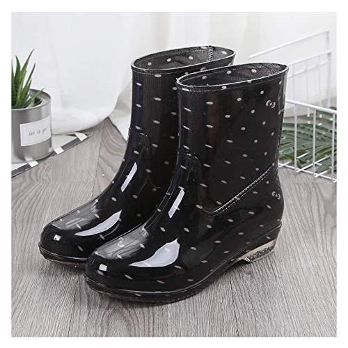 LWZ Botas de Lluvia Negras para Mujer, Botas Impermeables para jardín, Zapatos de Agua Estampados con tacón, Botas de Lluvia con Estilo para Exteriores
