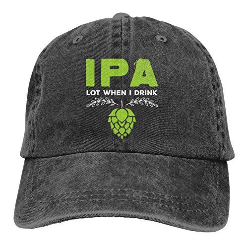 IPA-Lot When I Hats Adjustable Baseball Cap Unisex Washable Cotton Dad Hat Trucker Cap. Black