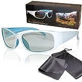 Schleiter & Jauernig SJ-UW Gafas 3D pasivas de corte deportivo, color blanco/azul, para él o ella, polarizadas circulares, para cine y TV RealD 3D (200 g)
